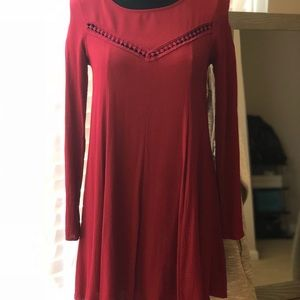 burgundy Sage backless long sleeve dress